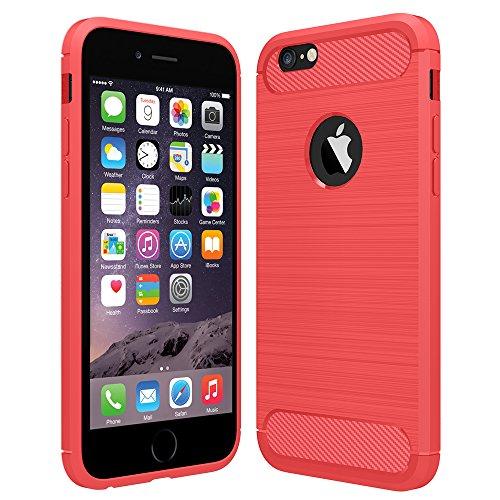 Anjoo Hülle Kompatibel mit iPhone 6/6s, Carbon Fiber Texture-Inner Shock Resistant-Weich und Flexibel TPU Cover Case Kompatibel mit iPhone 6/6s, Rot