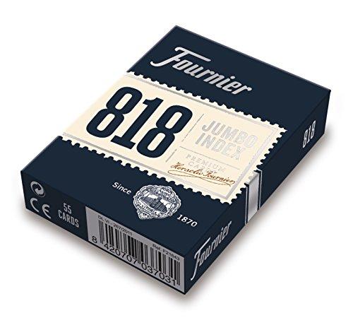 Fournier 818-55 - Baraja Poker en Inglés (55 Cartas), Surtido, Color del dorso aleatorio rojo o azul