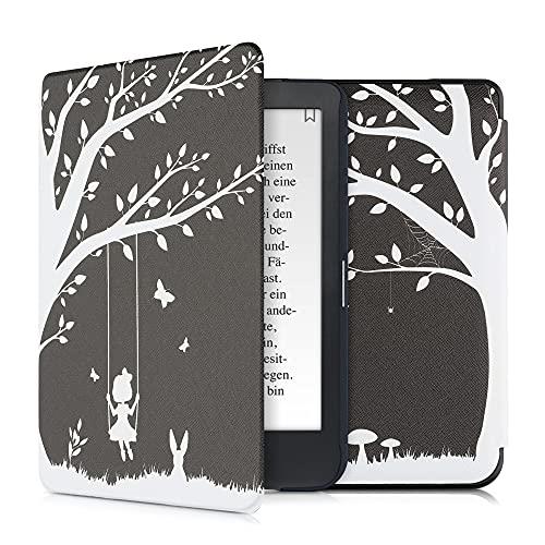 kwmobile Custodia Compatibile con Kobo Clara HD - Cover in Simil Pelle Magnetica Flip Case Custodia per eReader Bianco/Nero