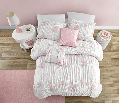Mytex Home Fashions Mytex Tabitha Pretty Floral 5-Piece Comforter Set with Smocking and Ruffled Texture, Girls, Teen Bedding, Shabby Chic, White/Pink/Aqua, Full