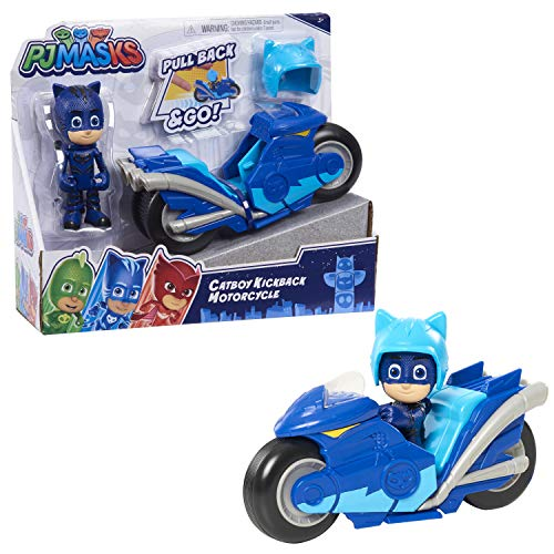 PJ Masks Kickback Motorcycles, Catboy and Vehicle, 2-Piece Figure Set, Multi-Color