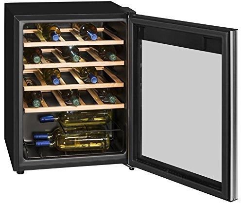 Weinkühlschrank Getränkekühlschrank Weinkühler • EEK A • 24 Flaschen • LED Innenbeleuchtung zuschaltbar • Digitale Temperaturregelung • Freistehend • 4 holzfarbene Ablagefächer