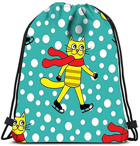 Unisex Drstring Bags Backpack Cat On Ice Skates and Snowflakes Travel Gym Bags