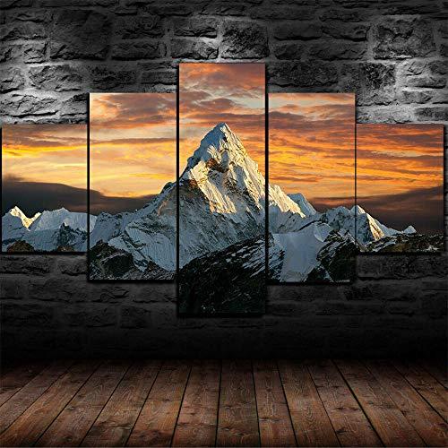 Loveygg 5 Piezas Pintura sobre Lienzo Moderna Pintura Impresión del Hogar Sala Estar Dormitorio Cuadro Regalo Carteles Naturaleza Montaña Cima del Monte Everest,150x80cm