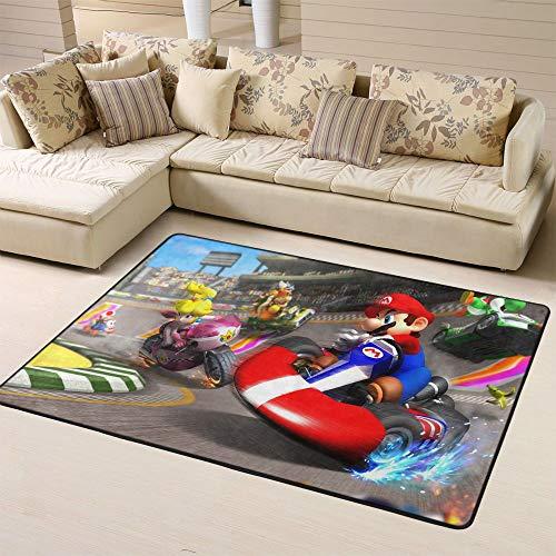 Zmacdk Super Mario Teppich für den Eingangsbereich, rutschfeste Unterseite, für Kinderzimmer, Spielzimmer, Schlafzimmer, 180 x 210 cm, Mario Racing Sprint