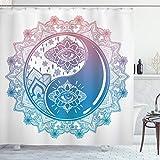 ABAKUHAUS Zen Duschvorhang, Ying Yang Mandala asiatisch, mit 12 Ringe Set Wasserdicht Stielvoll Modern Farbfest & Schimmel Resistent, 175x200 cm, Rosa Blau