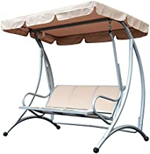 Outsunny 3 Person Steel Outdoor Patio Sling Fabric Swing Chair with Adjustable Canopy - Beige
