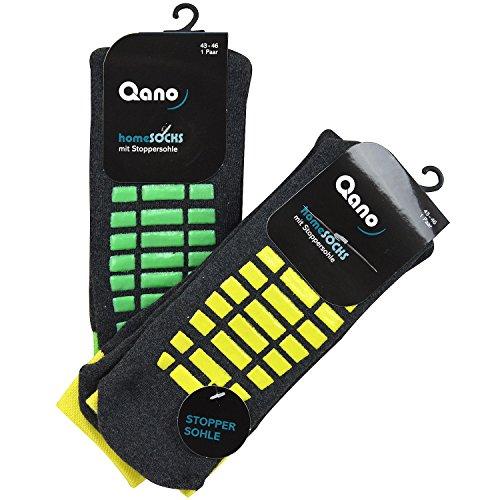 Qano 2er Pack ABS Herrensocken, Stoppersocken, Grau/NEON (43/46), Grau/gelb & grün (43-46)