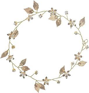 Elegante diadema nupcial para bodas Hojas de oro Tocados