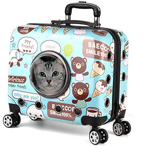 YingQ Maleta De Viaje con Ruedas Cápsula Astronauta Equipaje De Viaje Maleta Bolsa Gato Perro Carro Transportador De Mascotas para Perro Gato-Azul