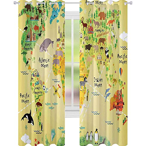 YUAZHOQI Kids Decor Cortinas para dormitorio educativo Mapa África América pingüinos Atlántico Pacífico Océano Animales Australia Panda cortinas opacas para dormitorio 132 x 160 cm