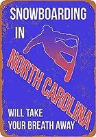 2個 20 * 30CMメタルサイン-ノースカロライナスノーボードが息を呑む メタルプレート レトロ アメリカン ブリキ 看板