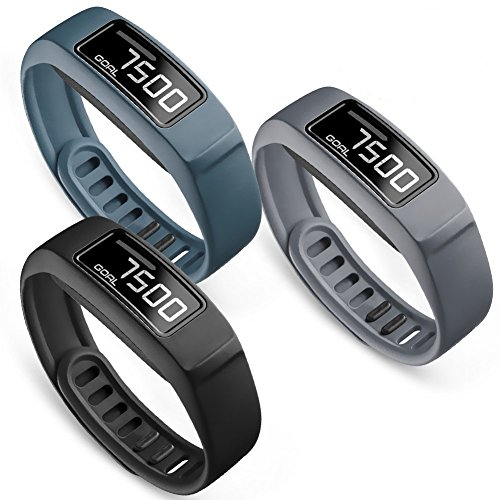 SKYLET Compatible with Garmin Vivofit 2 Bands, Soft Silicone Replacement Bands for Vivofit 2 Wristband Bracelet with Buckle Small Large Kids Men Women Black (No Tracker)