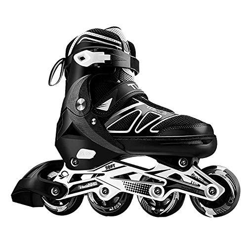 Professionelle verstellbare Inline Skates mit beleuchteten Leuchträdern für Männer und Frauen Einreihige Rollerblades Anfänger Fitness Rollschuhe für Kinder Teenager Erwachsene Schwarz_XL (42-45)