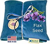 KOYA Naturals Flax Seed Pillow with Lavender  Microwavable Heating Pad for Neck, Muscle, Joint, Stomach Pain, Menstrual Cramp - Made in USA (Turquoise, Scented)