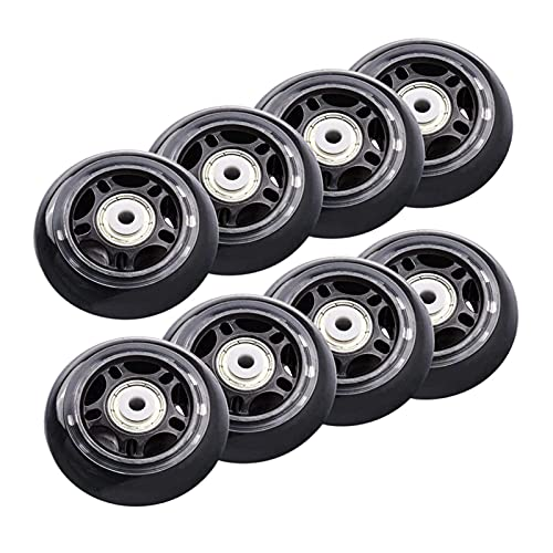 CML 8 Pack en línea Skate Wheels Principiante Blades de Rodillos para Principiantes Rueda de reemplazo con rodamientos Rollerblade Wheels 70mm (Color : Black)