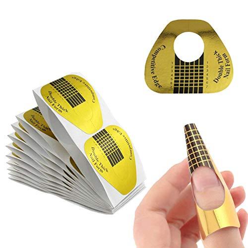 GeekerChip Nagel-Schablonen[300 Stück],Nagel Schablonen Modellierschablonen selbstklebend,für Gel-Nägel&Nagel-Verlängerung Golden Schablonen