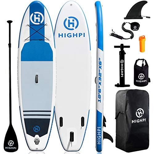Highpi Inflatable Paddle Boards, 10'6''x32''x6'' SUP for Adults&Youth, Stand Up Paddle Boards with Accessories, Anti-Slip Deck, Stable Durable Lightweight, Suitable for Yoga Fishing Traveling