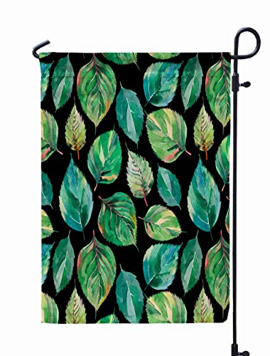 UIJDIAm Welcome Garden Flag Home Yard Decorative 12X18 Inches Beautiful Lovely Cute Wonderful Graphic Bright Floral Herbal Autumn Green Yellow Leaves Double Sided Seasonal Garden Flags,Turquoise Gray