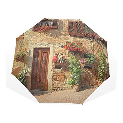 LASINSU Regenschirm,Malerische Gasse mit mediterraner Architektur blüht italienische Stadt,Faltbar Kompakt Sonnenschirm UV Schutz Winddicht Regenschirm