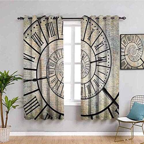 Cortinas opacas de alta calidad con número romano en espiral en el fondo texturizado vintage diseño antiguo impresión impermeable tela sepia 125 x 150 cm