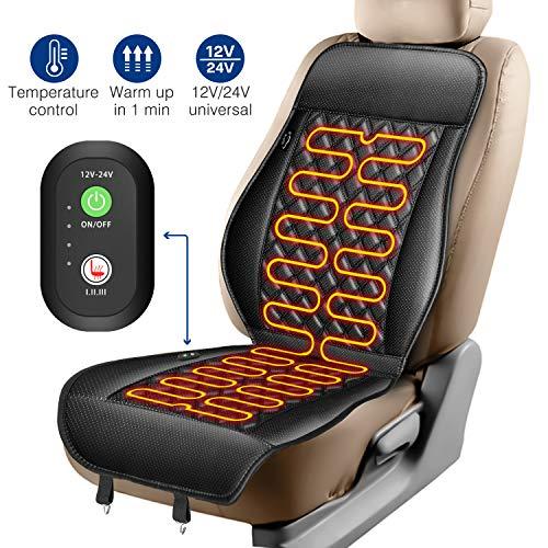 ELUTO Sitzheizung Auto Auflage Heizkissen 12V/24V Beheizte Sitzauflage mit Zeit Temperatur Kontrolleur Universal Vordersitz Heizauflage schwarz für LKW Auto