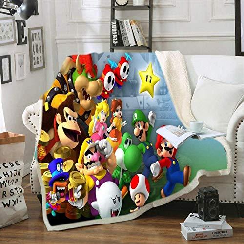 Super Mario Fleecedecke – Fleecedecke für Kinder, antistatische Decken, warm und leicht, für Sofa, Bett, Sofa, Wohnzimmer, Schlafzimmer, 3D-Druck (J,150 x 200 cm)