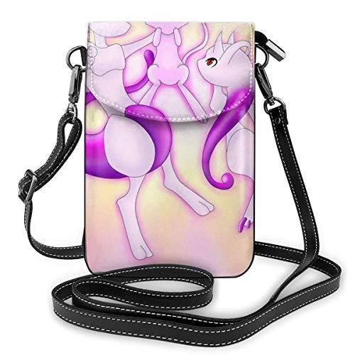 IUBBKI Mew With Mewtwo Anime Style Mobile Phone Bag, Small Messenger Bag, Mini Mobile Phone Bag, Shoulder Bag