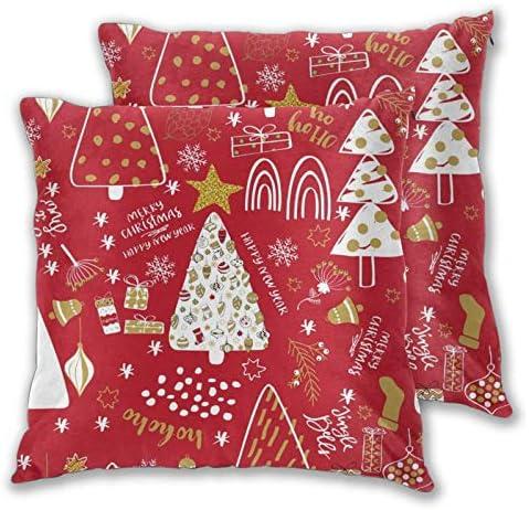 Set van 2 kerstboom kussenslopen voor bank kantoor slaapkamer woondecoratie 18 x 18 inch
