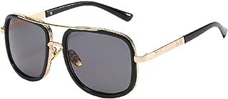 نظارات شمسية بإطار سميك للرجال ، نظارات شمسية للشاطئ والسفر للحماية من الأشعة فوق البنفسجية ، نظارات تصوير للشارع (أسود)