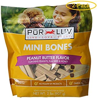 Pur Luv Mini Bones Peanut Butter Flavor Dog Treats (2 Pack)
