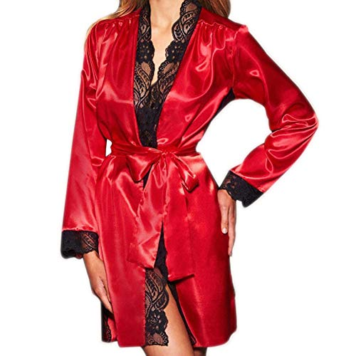 MRULIC Damen Seide Kimono Dressing Babydoll Spitze Dessous Bademantel Frühling und...