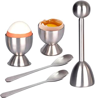 LETOOR Cracker Topper Set Soft Hard Boiled Eggs Separator Tool – Include Spoons and Cups - Shell Remover & Cutter - Steel Spoon & Cup Holder – Cooker Accessory, 5.5 inch, Metal