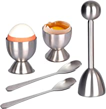LETOOR Cracker Topper Set Soft Hard Boiled Eggs Separator Tool – Include Spoons and Cups - Shell Remover & Cutter - Steel ...