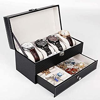 4 Slots Double-deck Watch Box Carbon Fiber Watch Case with Jewelry Drawer for Storage and Display