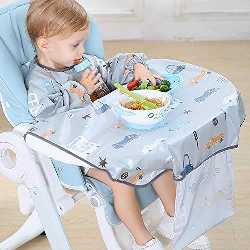 Baberos Bebés Manga Larga,Baberos Bebe Impermeables un Babero de Destete que se Puede Colocar en una Trona,Adecuado para Bebés de 6 a 36 Meses para usar un Babero con Mangas. (Gris)