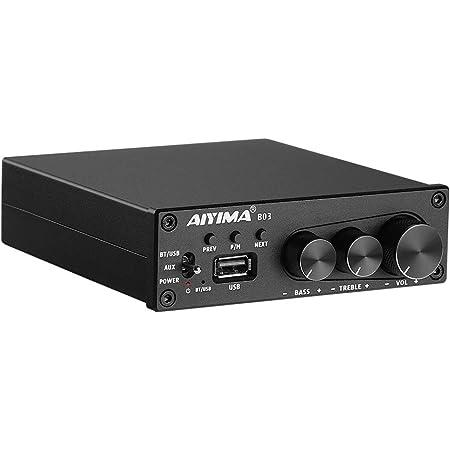 AIYIMA B03 de Potencia Amplificadores Bluetooth 5.0 160W*2 TDA7498E Amplificador de Sonido Amplificador de subwoofer est/éreo Graves Agudos Ajustable con Reproductor de m/úsica USB para Altavoces