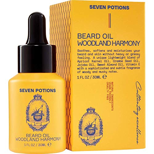 Beard Oil 1 fl oz by Seven Potions. Sweet and Woody Scented Beard Softener. Stops Beard Itch. Natural