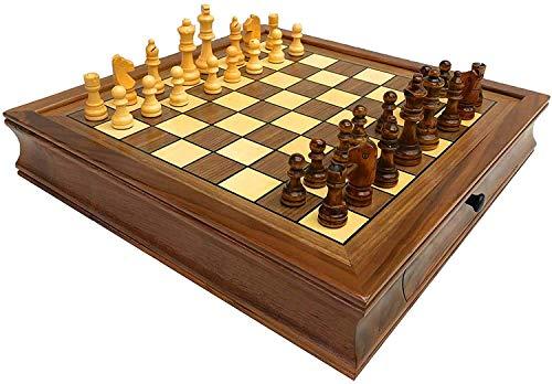 Conjunto de ajedrez internacional, equipado con una maleta portátil, piezas de ajedrez magnético, almacenamiento de cajones, 34 piezas de ajedrez, adecuadas como regalos, juegos de mesa y juegos tradi