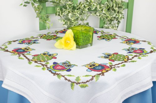 Kamaca Stickpackung LUSTIGE EULEN Kreuzstich vorgezeichnet aus 100% Baumwolle Tischdecke 80 x 80 zum Selbersticken (80x80 cm)