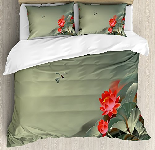 Ambesonne Dragonfly Duvet Cover Set, Traditional Japanese Painting Lotus Blooms in Tones Design, Decorative 3 Piece Bedding Set with 2 Pillow Shams, Queen Size, Red Reseda Green