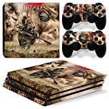 ZOOMHITSKINS PS4 Pro Console and Controller Skins, War Marine Soldier Gun Sniper Camouflage Submachine Sand Blood, High Quality, Durable, Bubble-free, 1 Console Skin 2 Controller Skins, Made in USA