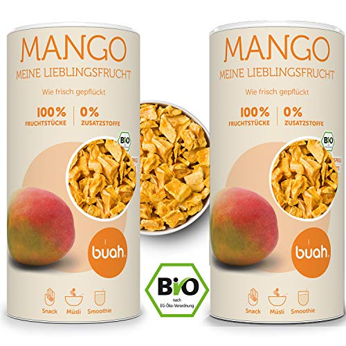 Bah Mango seco para congelación Mango Bio I Mango seco I frutas secas sin azúcar I sin desenredos (360 g)