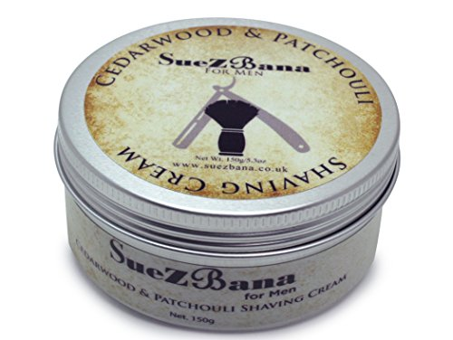 Suezbana - Crema da barba da uomo al cedro e patchouli, 150 g