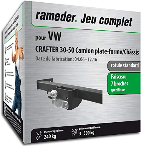 Rameder Pack, attelage rotule Standard 2 Trous + Faisceau 7 Broches Compatible avec VW Crafter 30-50 Camion Plate-Forme/Châssis (145191-05530-1-FR).