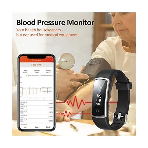 Lintelek Pulsera Actividad, Reloj Inteligente con Medidor de Ritmo Cardíaco Presión Arterial, Reloj Deportivo Compatible… 7