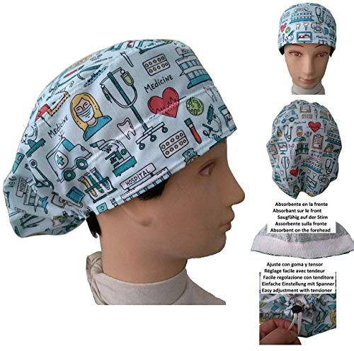 OP Haube, OP Kappen Medizinische Instrumente. Krankenschwester, Zahnarzt, Tierarzt, für langes Haar. Saugstreifen vorne, Gummi mit verstellbarem Spanner