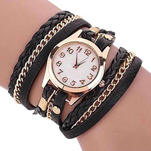 Doitsa Damen Geflochten Armbanduhr aus Leder Jugendliche Maedchen Armreif Uhr 11 Schwarz