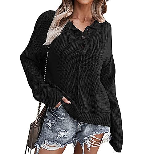 AMhomely Tops de manga larga para mujer para Reino Unido Liquidación Blusas para mujer Venta de moda suéter Soild Trun-Down Collar Tops Mujer Blusa Primavera Vintage Sudaderas Pullover, B-negro, XL