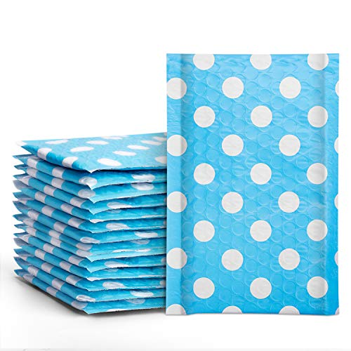Fuxury #000 Poly Bubble Mailers 4x8 Inches Blue Polka Dots Padded Envelopes Pack of 50